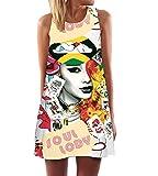365-Shopping Damen Sommer Chiffon Kleider Sommerkleid Strandkleid Lose Minikleid Partykleider Top