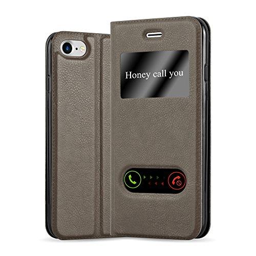 Apple iPhone 8 / 7 / 7S Hülle in BRAUN von Cadorabo - Handy-Hülle mit Magnet-Verschluss im View Design mit Sicht-Fenster Case Cover Schutz-hülle Etui Tasche Book Klapp Style STEIN-BRAUN