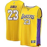 NBA LA James 23 Fan Men Jersey Hombres (Oro, L)