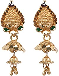 Beadworks Gold Plated Brass Stylish, Traditional Jhumki Style Stud Earrings For Women