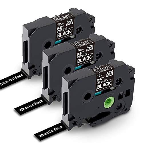3x TZe Tape 12 mm Compatibile con Brother P-Touch TZe-335 Nero su Nastro Bianco per Brother P-Touch PT-D400, PT-H100LB, PT-H100, PT-D210 Label Printer