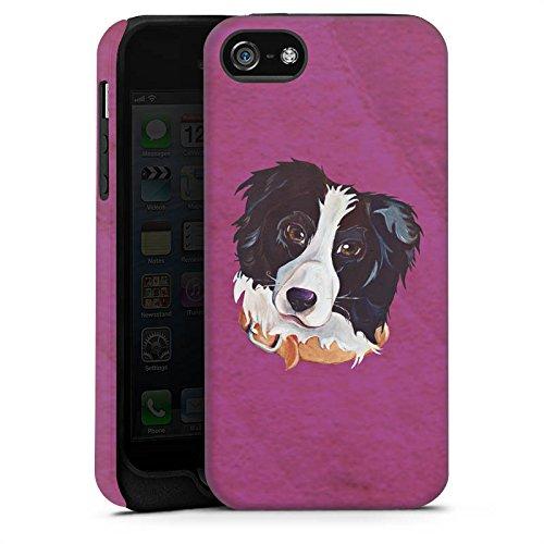 Apple iPhone 5s Tasche Hülle Flip Case Border Collie Hund Hunde Tough Case matt