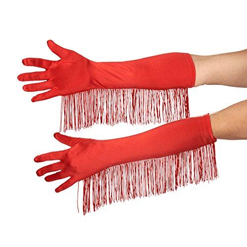 Satin Handschuhe mit Fransen schwarz Charleston 20ziger Jahre Kostüm (Satin Mit Fransen Handschuhe)