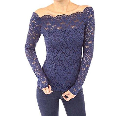 Minetom Damen Frühling Elegant Spitze Muster weg von Schulter Schlank Shirt Mode 3/4-Arm Tops Blau