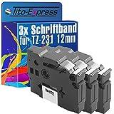 PlatinumSerie® 3 Schriftbänder kompatibel für Brother P-Touch TZ-231 TZe-231 18R H75S GL100 E100 VP H100 LB R