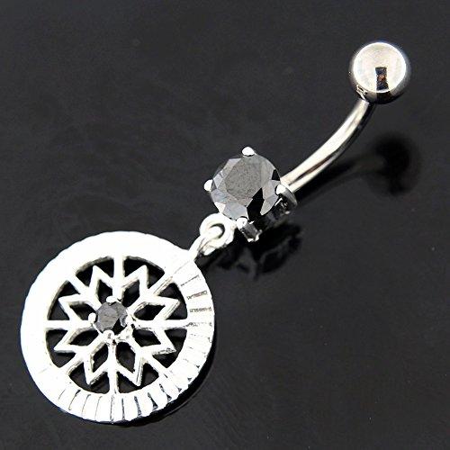Snowflake fantaisie fleurs pendantes en argent 925 avec acier inox Belly Noir