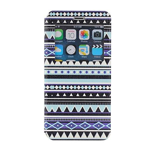 MOONCASE iPhone 6Plus Case Slim Window View Design Coque en Cuir Portefeuille Housse de Protection Étui à rabat Case pour Apple iPhone 6 / 6S Plus (5.5 inch) XB26 XB05 #1223