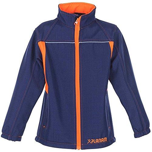 Planam Softshell Jacke Junior, größe 134 / 140, marine / orange / mehrfarbig, 6131134