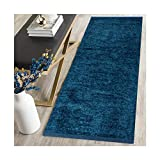 #6: AH Furnishing Polyester Soft Indoor Modern Shag Area Rug Carpet with Feather Touch for Dining Room, Home Bedroom, 22X48 Inch (Blue Colour)