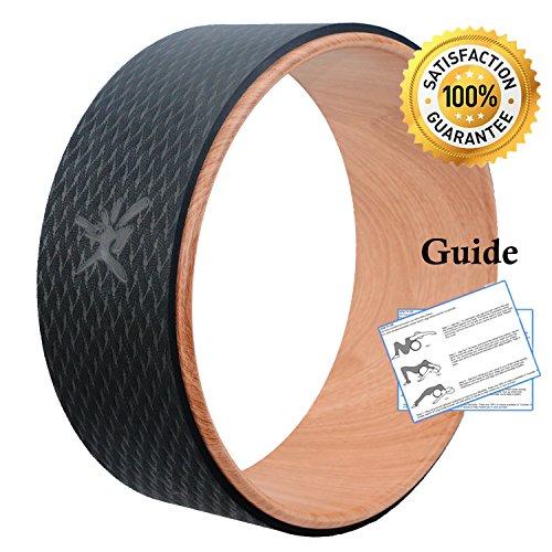"""Yoga Wheel, ruota di sostegno per \""""Dharma\"""" yoga, comoda e resistente, perfetta per le posizioni yoga, per lo stretching, aumentare la flessibilità e migliorare l\'incurvatura della schiena, 33x 12,7cm, Wood"""