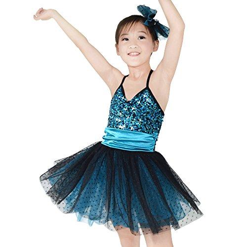(MiDee Pailletten Sling Ballett Ballettröckchen Kleid Tanz Kostüm Für Kleine Mädchen (Dary Blau, LC))