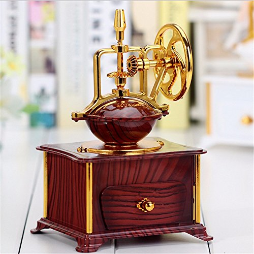 tagsgeschenk Musikalische Mechanik Klassische Kaffeemaschine Modell Spieldose Gold Wohnzimmer Kunststoff Dekoration Spieluhr,Schokolade Farbe (Wirren, Geburtstag Dekorationen)