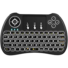 Tastiera Retroilluminata, QPAU 2.4Ghz Mini Tastiera Senza Fili Wireless con Touchpad per PC, Pad, Android/Google TV Box, PS3, Xbox 360, HTPC, IPTV