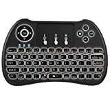 Tastiera Retroilluminata, QPAU 2.4Ghz Mini Tastiera Senza Fili Wireless con Touchpad per PC, Pad, Android/Google TV Box, PS3, Xbox 360, HTPC, IPTV immagine