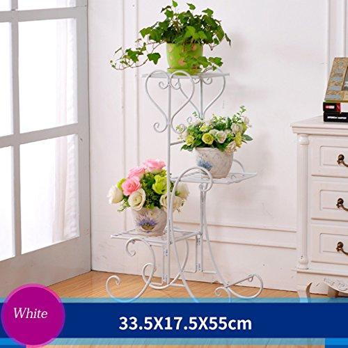 Regal-gewächshaus 3 (Eisen Blumenrahmen Boden Stil Blumenbeet Rahmen Innen-und Außenbereich Wohnzimmer Balkon Rack 3 Schichten (33,5 * 17,5 * 55cm) ( Farbe : Weiß ))
