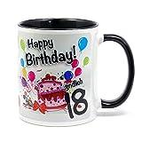 Geburtstagstasse Happy Birthday - Endlich 18 - lustiger Kaffeebecher, ein tolles Geburtstagsgeschenk zum 18. Geburtstag, originelle Geschenke für Frauen und Männer (schwarz)
