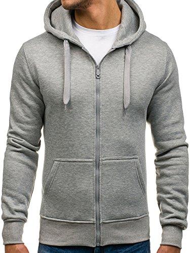 BOLF Kapuzenpullover Sweatshirt Hoodie Kapuze Pullover mit Reißverschluss Mix 1A1 Grau_2008