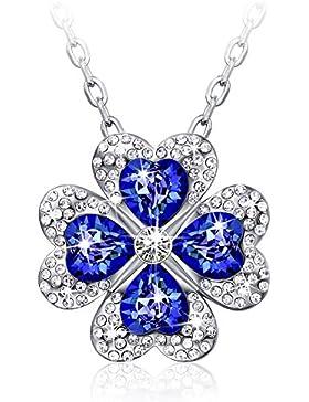 CAROLIER JEWELRY Kette Damen Kleeblatt Anhänger mit Kristallen von Swarovski