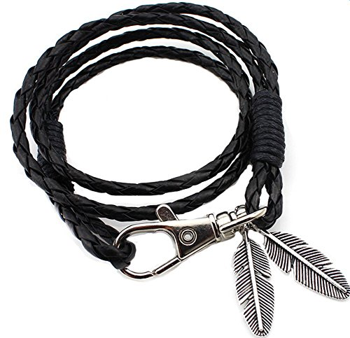 Kanggest pulsera de tejido de piel muñeca banda para hombres/mujeres, Colgante de pluma pulsera de tejido a mano unisex cool Fashion Punk multica (negro)