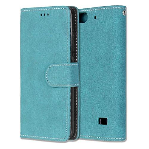 Chreey Huawei Honor 4C/G Play Mini Hülle, Matt Leder Tasche Retro Handyhülle Magnet Flip Case mit Kartenfach Geldbörse Schutzhülle Etui [Blau]