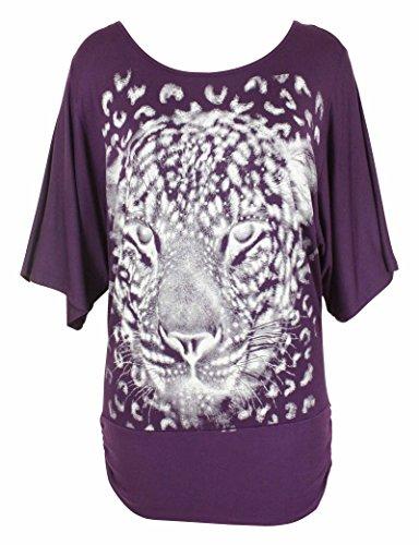 Femmes Col Rond Animal Léopard Imprimé Visage Court Manche Chauve-souris Silver Glitter Femmes Extensible Haut Long Violet - Violet