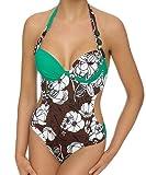 LingaDore Swimsuit Badeanzug mit Bügel & Softschalen Monokini Einteiler Gr. 36 38 40 Cup A B C D E (36 A, Braun-Grün-Weiss)