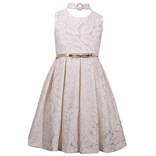 BONNIE JEAN Mädchen Kleid mit einem funkelndem Halsband & Gürtel, Party Outfit, X32224-DV, ivory/gold (6 (Gr. 122))