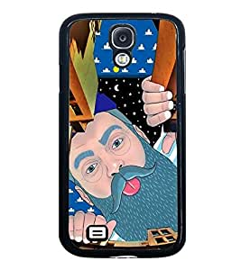 Fuson Premium 2D Back Case Cover Man peeping With Multi Background Degined For Samsung Galaxy S4::Samsung Galaxy S4 i9500