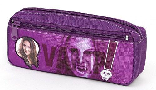 Chica Vampiro - Trousse avec 2Fermetures éclair et Motifs, en Polyester, 21cm - Violet