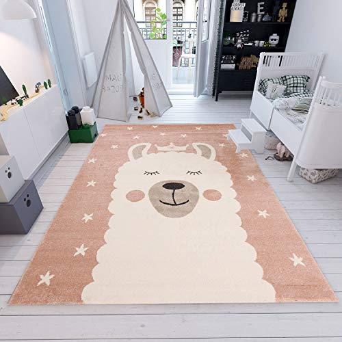 | Kinderteppiche Lama Sternenhimmel | Kinderteppich für Mädchen und Jungen | Sterne Teppich für Kinderzimmer | Farbe: Rosa & Blau | Schadstofffrei Kinderzimmerteppiche geprüft von Öko-Tex