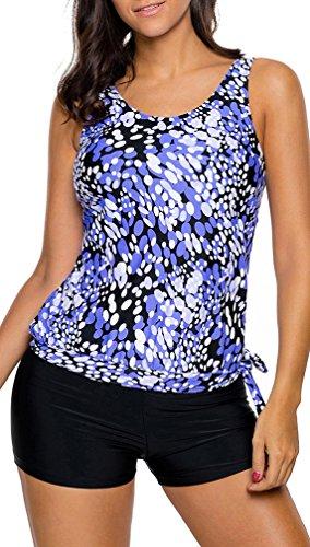 Bettydom Damen Tankini Summer Sporty 2 Stucke Yoga Fitness Blouson Tank Top mit Boyshorts mehrfarbig S-3XL Schwimmanzug Blau