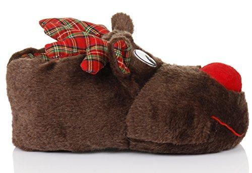 Unisex Tierhausschuhe aus Plüsch - Kinder & Erwachsene Marrone (Kids Reindeer)
