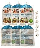 6er Pack Wiederverwendbare Quetschbeutel zum Selbst Befüllen – BPA & PVC frei – Gefrierfach & Geschirrspülfest – Baby & Kleinkinder mit selbst gekochten gesunden Essen & Gemüse versorgen – 200ml Füllmenge