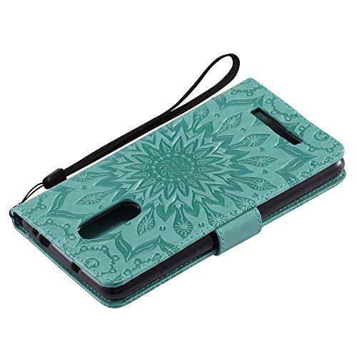 Für Xiaomi Hongmi Note 3 Fall, Prägen Sonnenblume Magnetic Pattern Premium Soft PU Leder Brieftasche Stand Case Cover mit Lanyard & Halter & Card Slots ( Color : Rose Gold ) Green