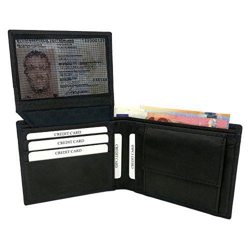NEU: Premium RFID Geldbeutel Herren - Leder Geldbörse Herren schwarz – Portemonnaie Brieftasche inklusive Geschenkbox – Geldbörse handgefertigt aus echtem Leder (Die Elektronische Geldbörse)