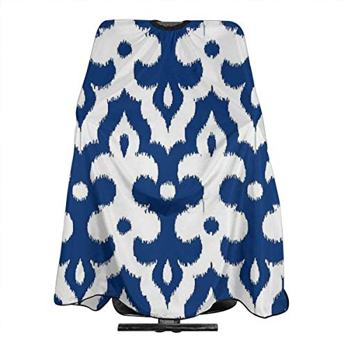 Moroccan Ikat Damask Cobalt Blue and White Personalized Custom Professional Friseursalon-Schürze, Polyester Hair Shawl 55