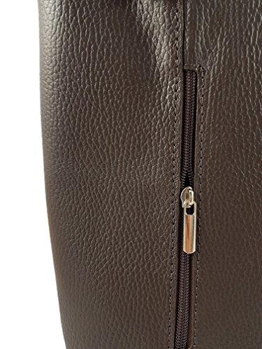2 in 1 Handtasche Rucksack Designer Luxus Henkeltasche aus Echtleder in versch. Designs Glattleder Dunkelbraun