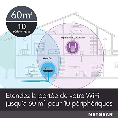 NETGEAR Répéteur Wifi EX2700 (Amplificateur Wifi) N300, supprimer les Zones mortes, jusqu'à 55m2 et 10 appareils, boost et répète le signal jusqu'à 300 Mbps, format prise murale ultra compact