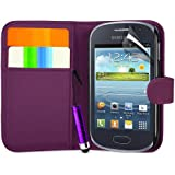 Supergets� Samsung Galaxy Fame S6810 Purple Side Flip Wallet Case Covers, Screen Protector, Polishing Cloth and Mini Stylus