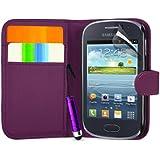 Supergets Gravur Hülle für Samsung Galaxy Fame S6810- Mehrfarbige Geldbörse in Lederoptik Buchstil Tasche Case mit Karteneinschub, Schutzfolie, Mini Stift