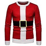Xmiral Sweater Herren Warmer Oansatz Pullover Weihnachten Print Rot Gestrickte Tops (XL,Rot2)