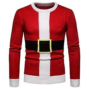 Frashing Herren Pullover Bluse Herbst und Winter Rot Pullover Langarm Shirt Crewneck Weihnachten Kostüm Weihnachtsmann Sweatshirt Langarmhemd Strickjacke
