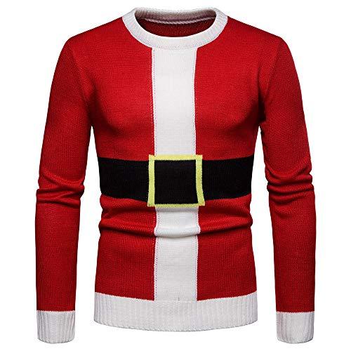Frashing Herren Pullover Bluse Herbst und Winter Rot Pullover Langarm Shirt Crewneck Weihnachten Kostüm Weihnachtsmann Sweatshirt Langarmhemd Strickjacke - LangÄrmeliges Stretch-crewneck