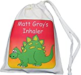 Personalised - Inhaler & Small Spacer Bag - Dinosaur Design - 14x20cm Natural Cotton Drawstring Bag - SUPPLIED EMPTY