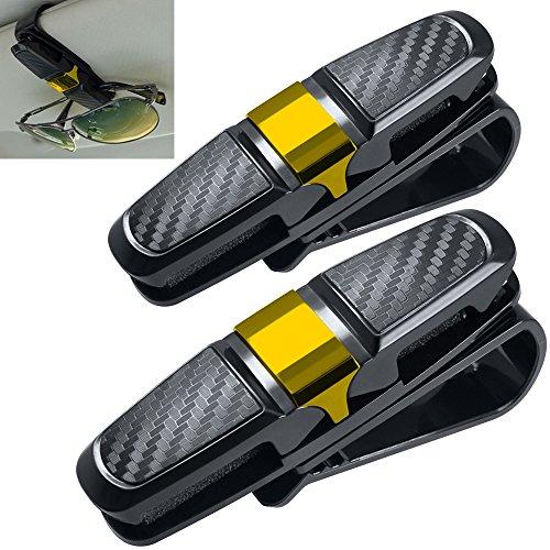 2 Pack Brillenhalter für Auto Sonnenblende, FineGood Sonnenbrillen Brillen mit Kartenkarten Clip - Gold