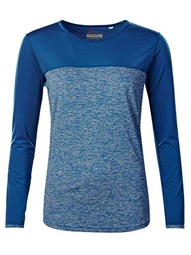 berghaus Damen Voyager Tech Tee Long Sleeve Crew Neck Longsleeve T-Shirt L Galaxy Blue Marl/Galaxy Blue -
