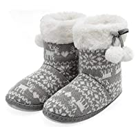 Kids Girls Boots Booties Slippers Warm Winter House Plush Fleece Lined Knitted with Pom Poms
