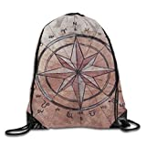 gthytjhv Kordelzug Bag Compass Art Rucksack for Gym Hiking Travel Customized Color 07 Lightweight Unique 16.9x14.2