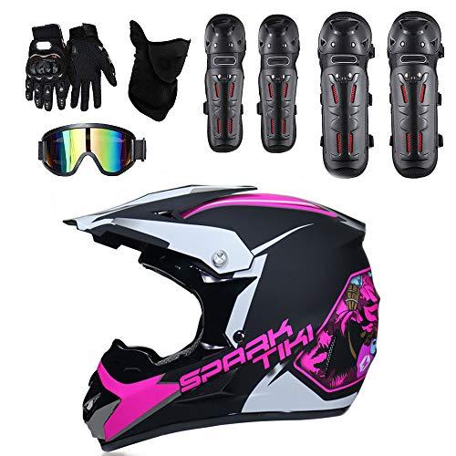 GUOGUO DOT Jugend Kinder Motocross Dirt Bike Helm BMX ATV Offroad Motorradhelm + Handschuhe + Schutzbrille (Graffiti Pink & Schwarz),L