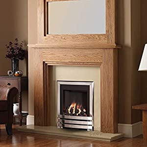 """Gas Chrome Oak Surround Cream Marble Silver Coal Flame Fire Modern Big Fireplace Suite - Large 54"""" - UK Mainland Only"""